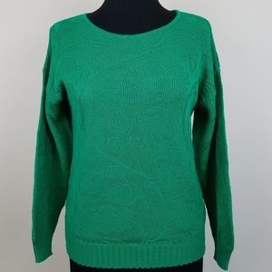 Vintage! Kelly Green Floral Knit Crew Sweater, Med